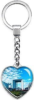 La Defense Frankrijk La Grande Arche Sleutelhanger Creatieve Dubbelzijdige Hartvormige Crystal Sleutelhanger Reizen Souven...