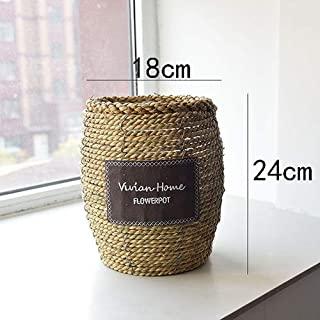 Nordic Straw Flowerpot Rattan Flower Basket Green Plant Green Luo TV Cabinet Porch Crafts Furnishings (Color : E)