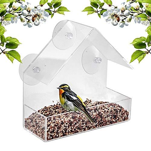 Comedero para Pájaros Caja al aire libre Ventana creativa multiusos Alimentadores de aves de vidrio transparente Vista de vidrio Vista de pájaro Pájaro Colgante Succión para pájaros al aire libre