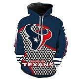 COZY LS Unisex con Capucha Suéter - Los Aficionados De La NFL Houston Texans 3D Camiseta De Rugby Uniforme Primavera con Capucha Suéter De Béisbol con Bolsillo - Adolescentes Regalo Blue-XL