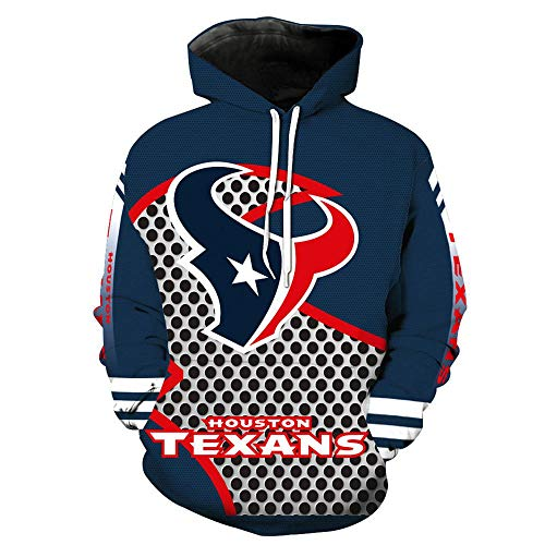 XSSC Hoodie Pullover - Houston 3D-Sweatshirt-Rugby-Fan Frühling Kapu Baseball-Trikot Mit Tasche - Teens Geschenk Rugby-Pullover,Blue-XXXXXL