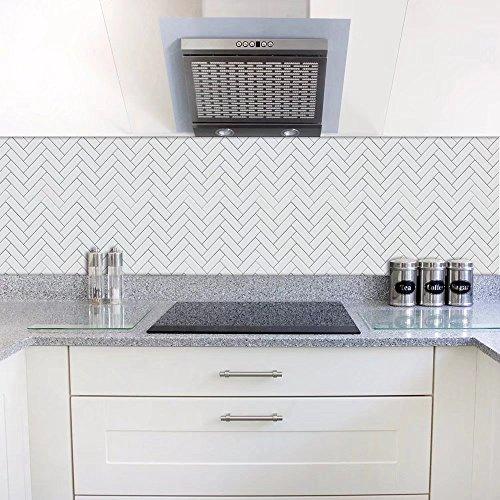 Frolahouse Set van 10 decoratieve tegelstickers Peel & Stick Vinyl tegels. Home Decor.Eenvoudige witte visgraat stijl meubels Decor. Oliebestendig waterdicht behang