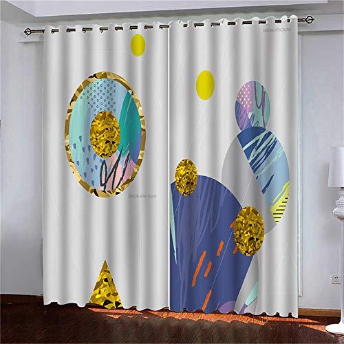 YUNSW Mode 3D Digitaldruck Vorhang Polyester Perforiert 98{3d0d357e5d26c42b64931e4e2fbcc0986d14e38c880a78d729515a8bdbaadb4a} High Shading Wohnzimmer Schlafzimmer Vorhänge 2-Teiliges Set