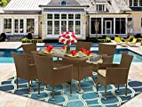 East West Furniture OSBK702A 7Pc Outdoor Brown Wicker Dining Set Includes a Patio Table and 6 Balcony Backyard Armchair with Linen Fabric Cushion