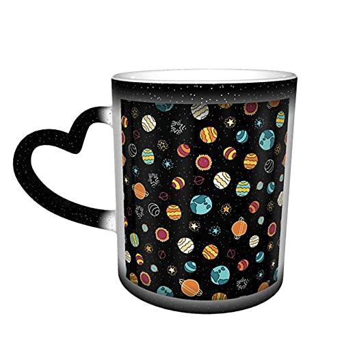 Oaieltj Taza cambiante de calor, Space Galaxy personalizada calor sensible taza de café taza de té de leche tazas de café mágica tazas de corte