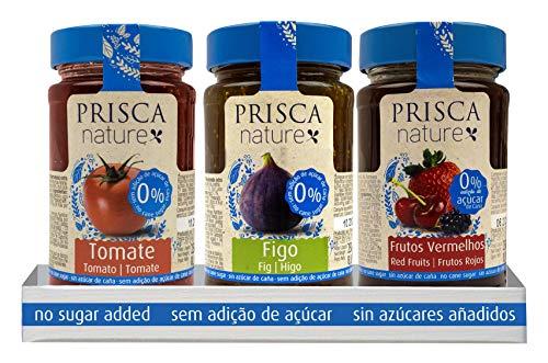 PRISCA Mermelada de Tomate, Higos, Frutos Rojos Sin Azúcar - Paquete com 3 Unidades