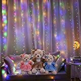 300 LED Curtain Lights 8 Modes USB Powered Twinkle Fairy Lights Multicolor Window Curtain String Lights with Remote for Bedroom Indoor Wedding Party Christmas Decoration, 9.8 x 9.8ft