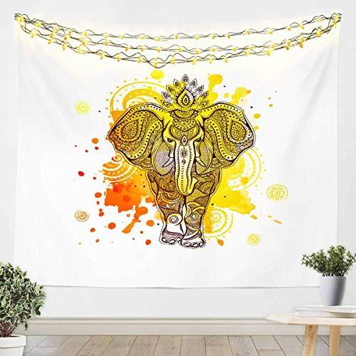 Loussiesd Tapiz de animales para niñas y niños, estilo bohemio exótico manta de pared de animales salvajes para colgar en la pared, decoración de la habitación, manta de cama amarilla mediana 51 x 59