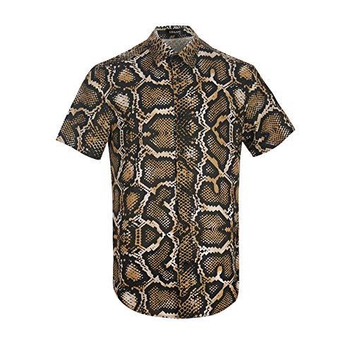 UPAAN Men's Python Print Short Sleeve Shirts Snakeskin Hawaiian Casual Tropical Disco Button Down Shirt
