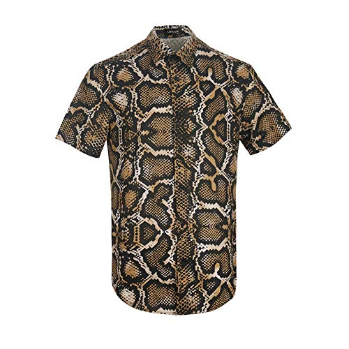 UPAAN Men's Python Print Short Sleeve Shirts Snakeskin Hawaiian Casual Tropical Disco Button Down Shirt