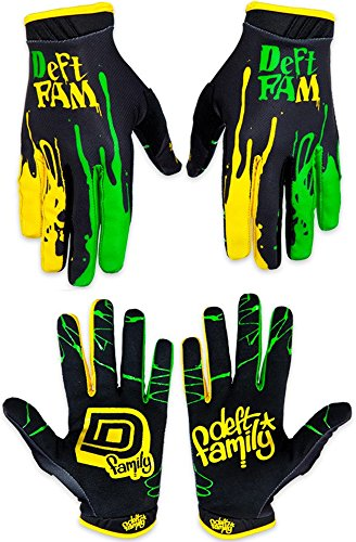 Deft Family Motocross MX Gloves Handschuhe Artisan Dipped Green Yellow (MEDIUM (9))