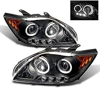 For Scion tC Sport Coupe Black Bezel Dual Halo Projector LED Headlights Replacement Left/Passenger Lamps