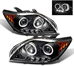 For Scion tC Sport Coupe Black Bezel Dual Halo Projector LED Headlights Replacement Left/Passenger Lamps