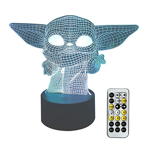 3D Star Wa/rs Night Light for Kids,Star Wars Gifts Illusion Lamp, 7/16 Colors Changing Baby yoda Decor Lamp with Remote Control, Star Wa/rs Toy and Gift for Boys Girls Fans