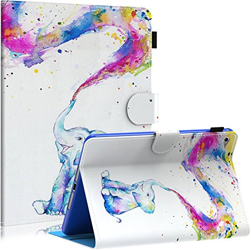 Dteck iPad Mini 4 Case, Slim Lightweight PU Leather Multiple Viewing Stand Smart Auto Sleep/Wake Case Cover for iPad Mini 4 (4th Generation iPad Mini, mini4), Rainbow Elephant