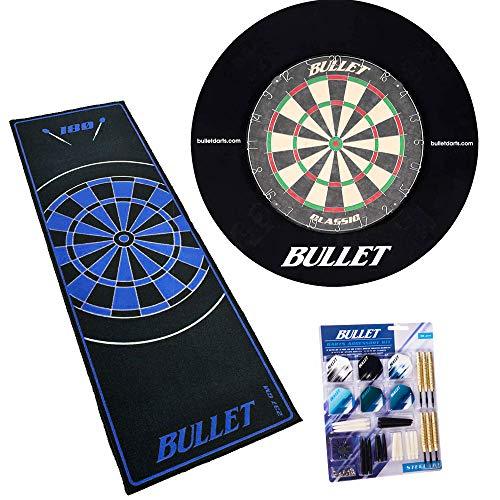 BULLET-Darts Großes Dart Turnier Set, 90 teiligem Steeldarts-Set, Surround Ring und einem professionellem Teppich - Schwarz/Blau
