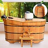 LOHOX Fumigación Barril de Madera, Bañera Sauna Barril Madera, Bañera Baño con Tapa Taburete Interior Extraíble y Diseño de Respaldo Aro de Cubo Espesor de la Hoja 2.5 CM (1-1.6M)