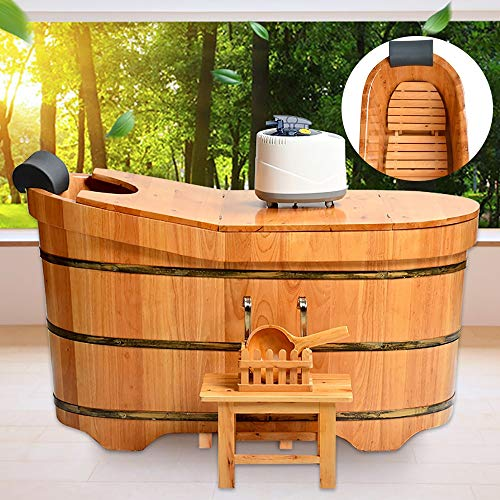 Barile di Legno per Fumigazione, 1-1.6M Sauna per Vasca da Bagno Fumigazione con Coperchio Macchina Sgabello Interno e Design Rimovibili Cerchio della Spessore Foglio 2,5 cm