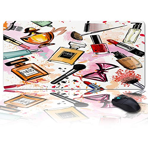 Large Size Gaming Mouse Pad Cosmetics Perfume Lipstick Bow Comb Brush Computer Game Mouse Mat Optimized for Gaming Sensors