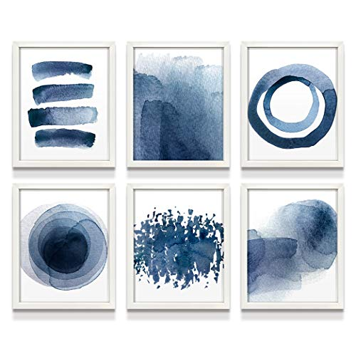 Wall Art Prints for Living Room Bedroom Kitchen   Abstract Blue Watercolor Paintings   8'X10'   UNFRAMED   Digital Prints   Home Decor Accents   Home Decorations   Set of 6