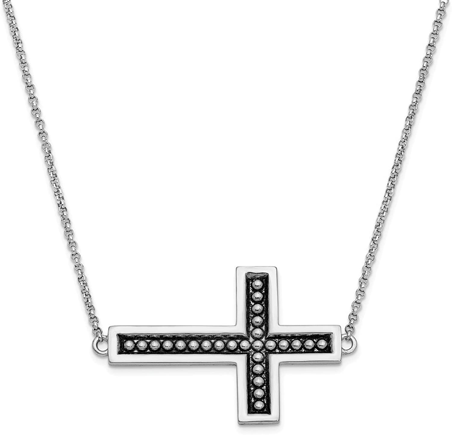 925 Sterling Silver Antiqued Cross 17.5in Necklace 3 4in ext