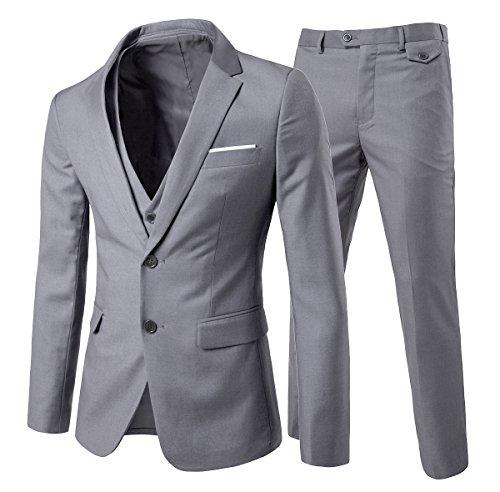 Cloudstyle, completo da uomo con vestibilità moderna, in 3 pezzi con giacca, gilè e pantaloni Light Grey S