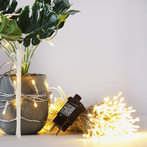 GlobaLink 50m 250Leds LED Lichterkette Außen Weihnachtsbeleuchtung IP44 mit Stecker 8 Modi für innen und außen Hochzeit Party Garten Deko - Warmweiß