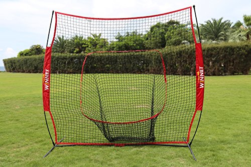 Winnet 7x7ft Practice Baseball Softball Net, Hitting and Pitching Net with Carry Bag, Large Mouth Batting and Throwing Baseball Net for Backyard