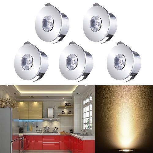 INHDBOX Mini LED Einbaustrahler Set,5X 1W Warmweiß LED Deckeneinbaustrahler Schwenkbar COB Deckenspots Aluminium LED [Energieklasse A+++]
