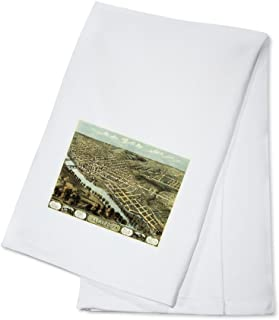 Lafayette, Indiana - Panoramic Map (100% Cotton Kitchen Towel)