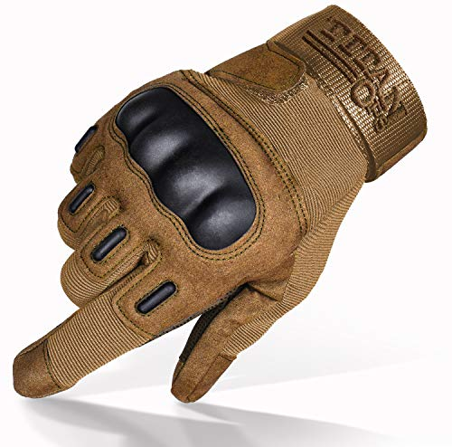 TitanOPS Full Finger Touchscreen Hard Knuckle Motorcycle Military Tactical Combat Training Army Shooting Outdoor Gloves