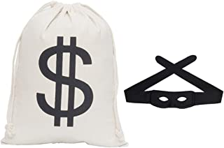 Secaden Dollar Sign Money Bag 16 x 11 inch Drawstring Pouch Bandit Robber Thief Cosplay Props with Gift Black Eye Mask