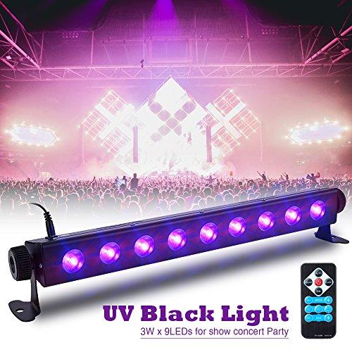 UV Beleuchtung SOLMORE 3 Modi LED Schwarzlicht Bühnenlicht Bühnenscheinwerfer mit Fernbedienung für Supermärkte Hochzeitsfeiern Geburtstage Geschäfte Konzert Halloween 9LEDs