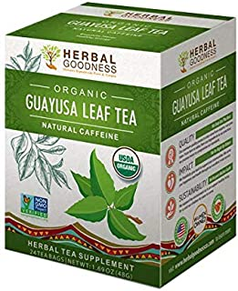 Guayusa Leaf Tea - Clean Energy - Natural Caffeine - Performance, Mental Clarity & Focus - Fat Burner - Coffee & Yerba Matte Alternative - Organic, Non GMO, Kosher, 24/2g Tea bags, Made in USA
