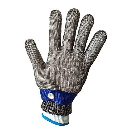 YLWL Handschuhe Edelstahl Gestrickte Cut 5 Protect Sicherheitshandschuh, Fleischer-Handschuh, mit verstellbaren Riemen an den Bündchen, Anti-Schnitt (Color : 1 Hand, Size : XL)
