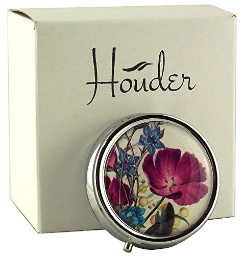 Houder Designer Pill Box Decorative Pill Case with Gift Box - Carry Your Meds in Style (Violets)