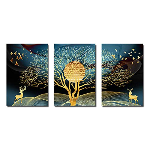 Golden Abstract Deer Tree Bird Wall Art Canvas Painting Nordic Posters and Prints Decorative Pictures for Living Room Home Decor 16X24Inx3(40X60Cmx3) Unframed