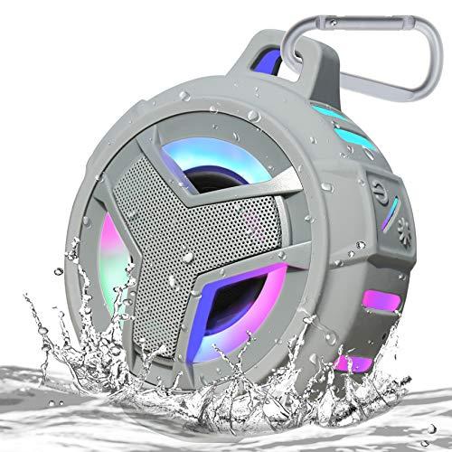 EBODA Shower Bluetooth Speaker, IPX7 Waterproof Portable Floating Speaker with Loud HD Sound, TWS Bluetooth 5.0 Wireless Speaker with Light Show, 24H Playtime for Shower Pool Beach - Gray