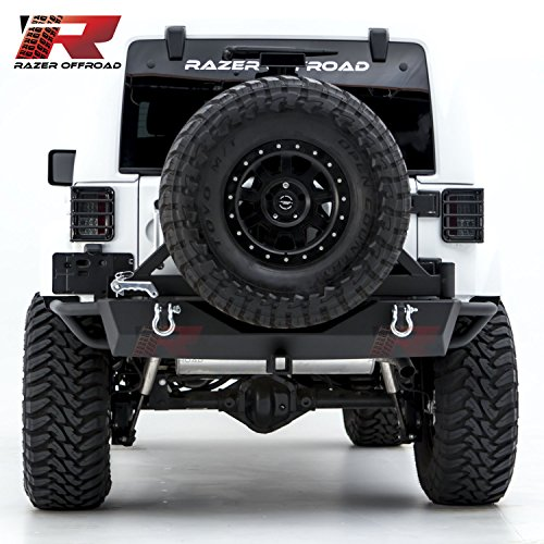 Razer Auto Rock Crawler Rear Bumper With Two 4.75 Ton With D-Rings and 2Hitch Receiver for 07-17 Jeep Wrangler JK