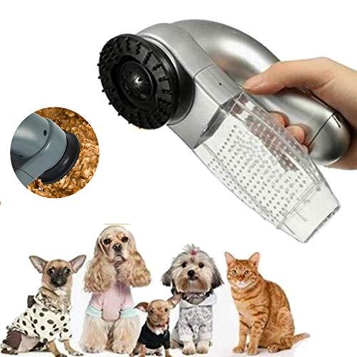 WEIFU Elektrische Tierpflegebürste Tierhaar-Staubsauger Tragbarer Akku-Staubsauger für die Haustiermassage