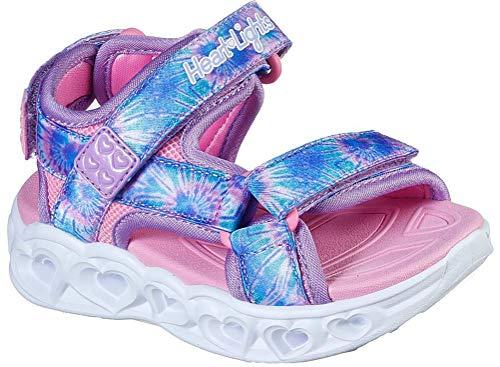 Skechers Girls S Heart Lights Sandal-Color Groove Sneaker, Lavender/Multi, 7 Toddler