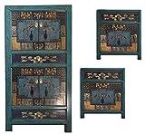 OPIUM OUTLET Combinación de armario chino para dormitorio y 2 mesitas de noche, cómoda asiática, estilo Shabby Chic vintage antiguo (azul)