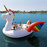 MKIU Inflatable Pool Float, 480×240cm Colorful Unicorn Party Floating Island Outdoor Beach Pool Float Lounger Summer Rowing Boat Lake River Swimming Water Toys