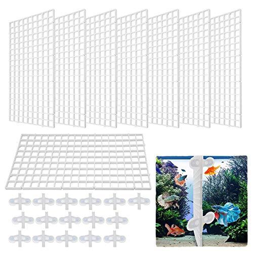 Nother xianzhanEU 8 STK Aquarium Trennwand,Kunststoffgitter Platte für Aquarium Unten Box,mit 16 × Divider Saugnapf(Weiß)