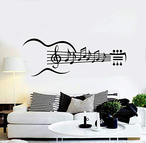 Guitarra Instrumento Vinilo Tatuajes de pared Guitarra Notas musicales Dormitorio Sala de estar Pegatinas Arte extraíble Decoración del hogar 153cm x 57cm