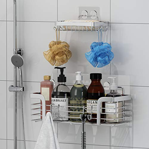 TESOT Shower Caddy Basket Shelf Soap Dish with Hooks for Hanging Sponge and RazorNo Drilling Adhesive Wall Mounted Bathroom Shower ShelfRustproof SUS304 Stainless Steel 2 Pack
