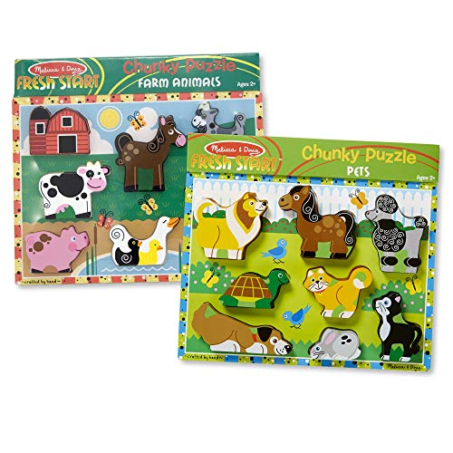 Melissa & Doug Wooden Chunky Puzzles Set - Farm and Pets