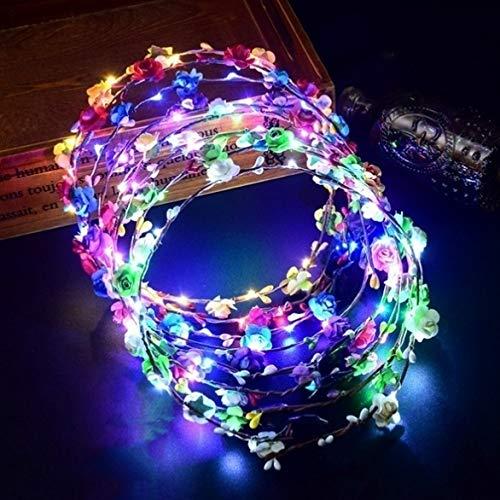 Banana99 2 Stück leuchtende LED-Lichtkranz, Kopfbedeckung, Touristen-Anziehungskraft, Haarband, Ornamente für Kinder, Frauen, Hochzeit, Party, Weihnachten, Festival-Zubehör