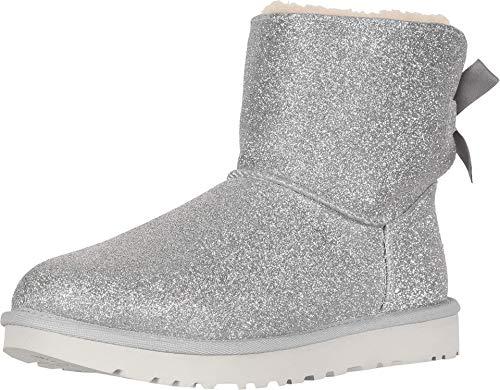 UGG Damen W MINI BAILEY BOW SPARKLE modischer Stiefel, Silber, 36 EU