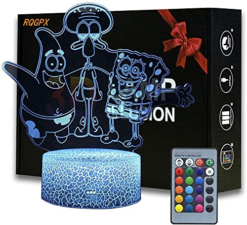 3D-LED-Illusionslampe, Squidward Tentakel, Nachtlicht, 16 Farben, wechselt mit Fernbedienung, Geburtstagsgeschenk für Kinder und Mädchen